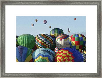Framed Print featuring the photograph Balloon Traffic Jam by Marie Leslie