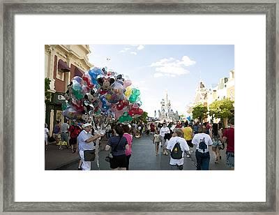 Balloon Vendor At Magic Kingdom Framed Print
