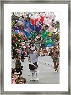 Balloon Vendor At Magic Kingdom No. 2 Framed Print