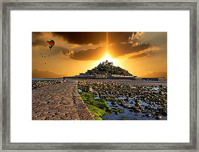 Ballooning Over St Michaels Mount Framed Print by Martin Newman