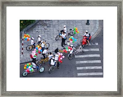 Framed Print featuring the photograph Balloons And Bikes by Cameron Wood