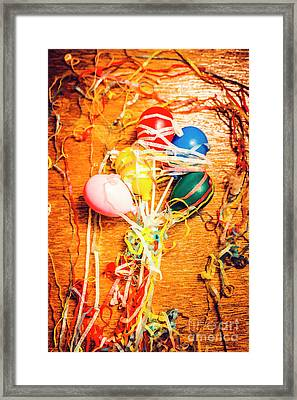Balloons Entangled With Colorful Streamers Framed Print