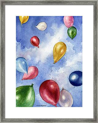 Framed Print featuring the painting Balloons In Flight by Anne Gifford