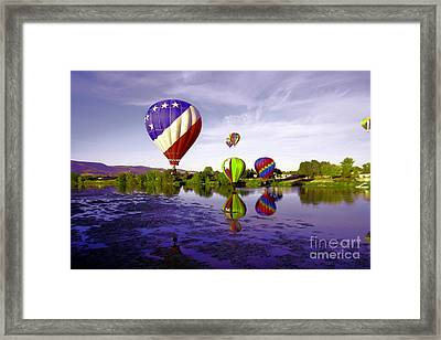 Balloons In The Yakima River Framed Print by Jeff Swan