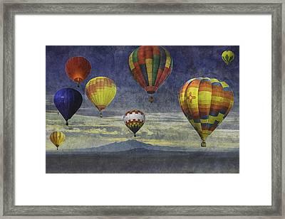 Balloons Over Sister Mountains Framed Print