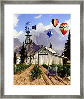 Balloons Over The Winery Framed Print by Ron Chambers