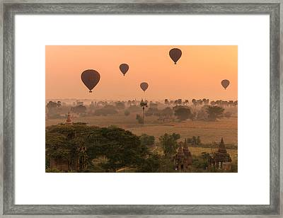 Balloons Sky Framed Print by Marji Lang