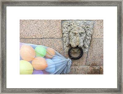 Balloons Tied Up To Handle On Wall, St Framed Print