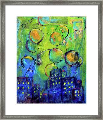Cheerful Balloons Over City Framed Print