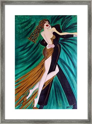 Ballroom Dancers Champagne Tango Framed Print by Helen Gerro