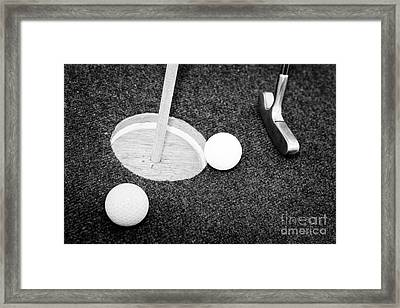 Balls And Golf Putter On Home Made Crazy Golf Hole Framed Print by Joe Fox