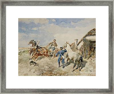 Baltic Farmstead And A Horse And Cart Framed Print by MotionAge Designs