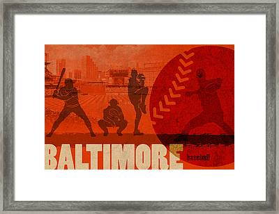 Baltimore Baseball Team City Sports Art Framed Print by Design Turnpike