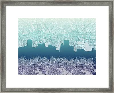 Framed Print featuring the painting Baltimore City Skyline Map 2 by Bekim Art