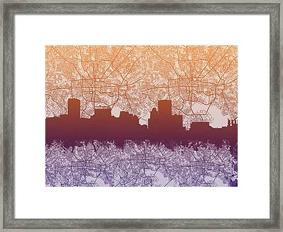 Framed Print featuring the painting Baltimore City Skyline Map by Bekim Art