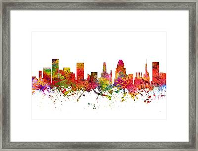 Baltimore Cityscape 08 Framed Print by Aged Pixel
