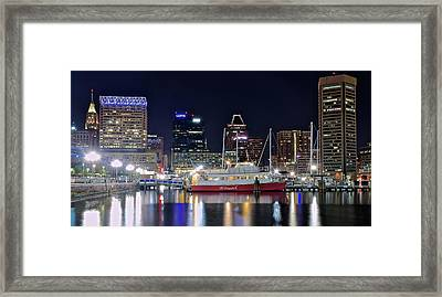Baltimore Harbor At Night Framed Print by Frozen in Time Fine Art Photography
