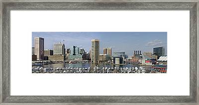 Baltimore Inner Harbor Panorama - Maryland Framed Print by Brendan Reals