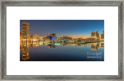 Baltimore Inner Harbor Skyline At Dawn Panoramic IIi Framed Print by Clarence Holmes
