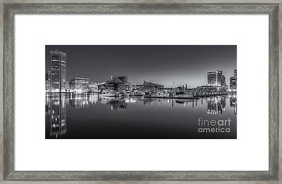 Baltimore Inner Harbor Skyline At Dawn Panoramic Iv Framed Print by Clarence Holmes