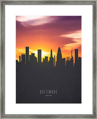 Baltimore Maryland Sunset Skyline 01 Framed Print by Aged Pixel