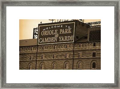 Baltimore Orioles Park At Camden Yards Sepia Framed Print