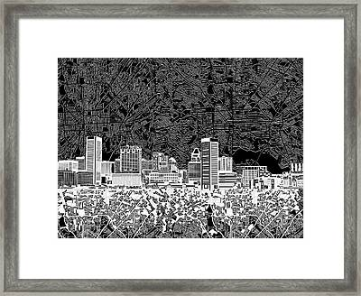 Baltimore Skyline Abstract 12 Framed Print