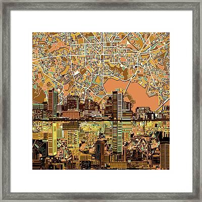 Baltimore Skyline Abstract 2 Framed Print