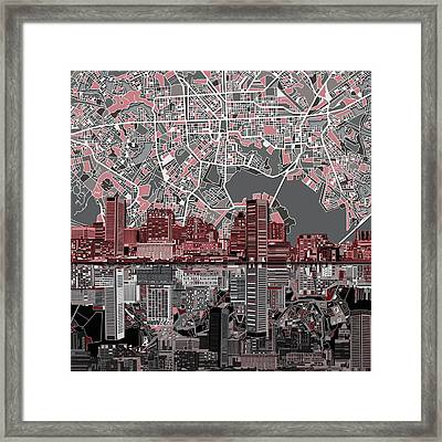 Baltimore Skyline Abstract Framed Print
