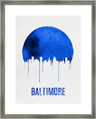 Baltimore Skyline Blue Framed Print