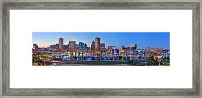 Baltimore Skyline Inner Harbor Panorama At Dusk Framed Print