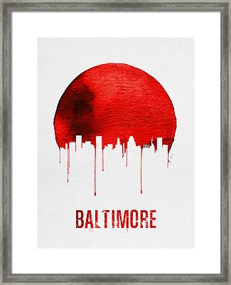 Baltimore Skyline Red Framed Print