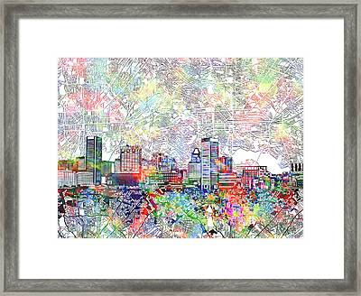 Framed Print featuring the painting Baltimore Skyline Watercolor 11 by Bekim Art
