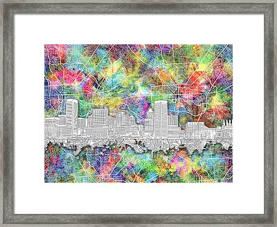 Framed Print featuring the painting Baltimore Skyline Watercolor 12 by Bekim Art
