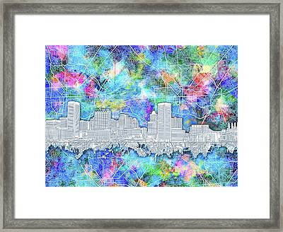 Framed Print featuring the painting Baltimore Skyline Watercolor 14 by Bekim Art