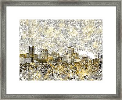 Framed Print featuring the painting Baltimore Skyline Watercolor 8 by Bekim Art
