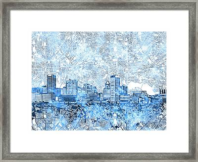 Framed Print featuring the painting Baltimore Skyline Watercolor 9 by Bekim Art