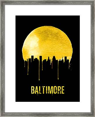 Baltimore Skyline Yellow Framed Print