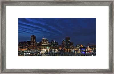Baltimore's Inner Harbor At Night Framed Print