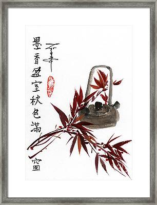 Bamboo And Teapot Framed Print by Linda Smith