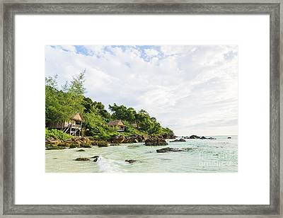 Bamboo And Wood Bungalows In Koh Rong Island Cambodia Framed Print