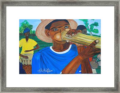 Framed Print featuring the painting Bamboo Blower In Haiti Rara Festival by Nicole Jean-Louis