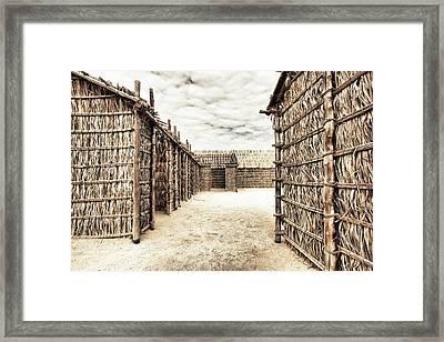 Bamboo Houses In Bahrain Framed Print by Den Lity