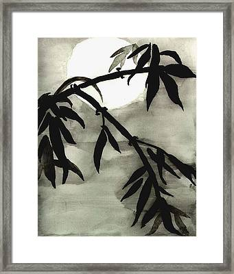 Bamboo In Moonlight - Watercolor Painting Framed Print
