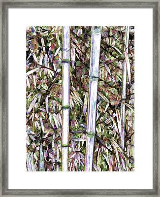 Framed Print featuring the painting Bamboo Stalks by Lanjee Chee