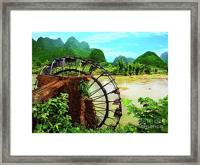 Bamboo Water Wheel Framed Print by MotHaiBaPhoto Prints