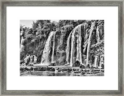 Ban Gioc Waterfalls Black  Framed Print