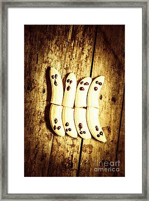 Banana Ghosts Looking To Split At Halloween Party Framed Print