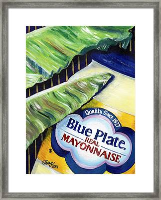 Banana Leaf Series - Blue Plate Mayo Framed Print by Terry J Marks Sr