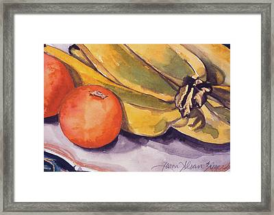 Bananas And Blood Oranges Still-life Framed Print by Caron Sloan Zuger